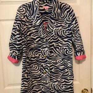 Lily Pulitzer Blue Zebra Print Coat